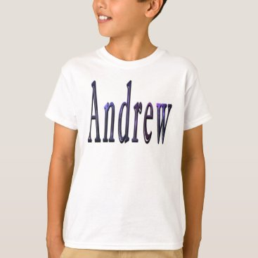 Beach Themed Andrew, Name, Logo, Boys White T-shirt. T-Shirt