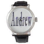 Andrew, Name, Logo, Mens Black Leather Watch. Watch