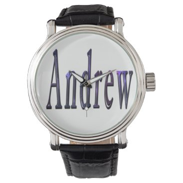 Beach Themed Andrew, Name, Logo, Mens Black Leather Watch. Watch