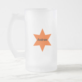 Andrew (orange star) frosted glass beer mug