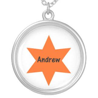 Andrew (orange star) round pendant necklace