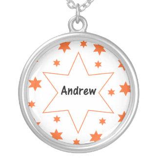 Andrew (orange stars) round pendant necklace