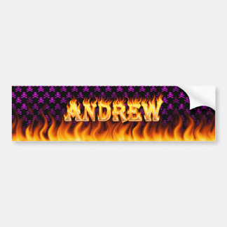 Andrew real fire and flames bumper sticker design.