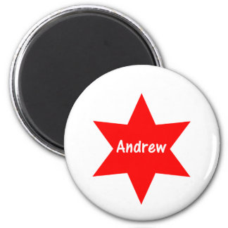 Andrew (red star) 2 inch round magnet