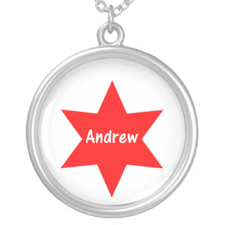 Andrew (red star) round pendant necklace