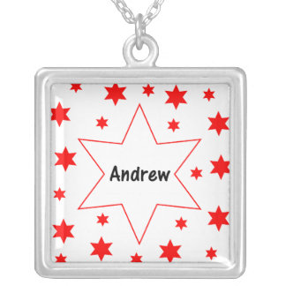 Andrew (red stars) square pendant necklace
