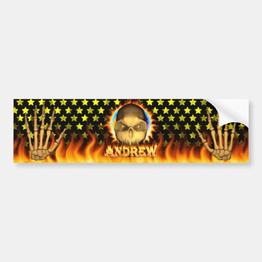 Andrew skull real fire and flames bumper sticker d