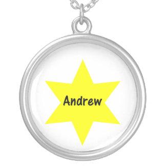 Andrew (yellow star) round pendant necklace