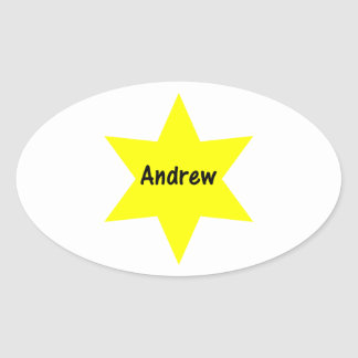 Andrew (yellow star) oval stickers
