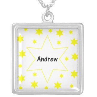 Andrew (yellow stars) square pendant necklace