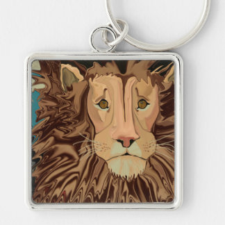 Andrew's Mane Story Silver-Colored Square Keychain