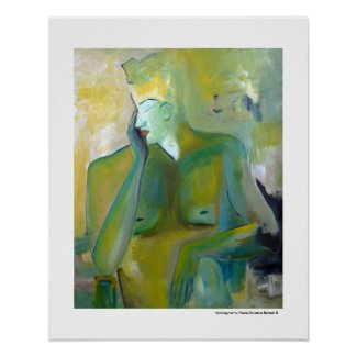 Androgyne Man Portrait Figurative Green Paintings Posters