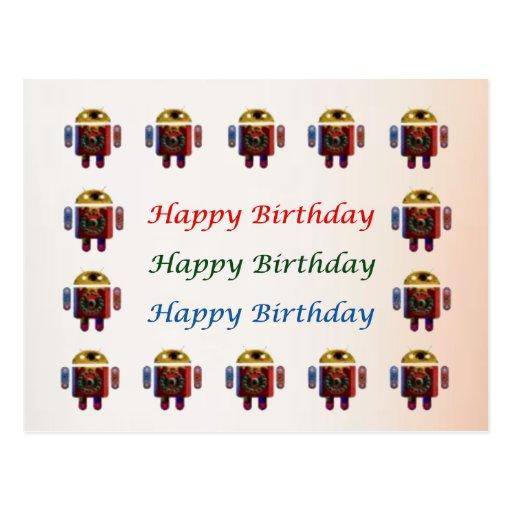 ANDROID Army - Happy Birthday Script n Blanks Postcard