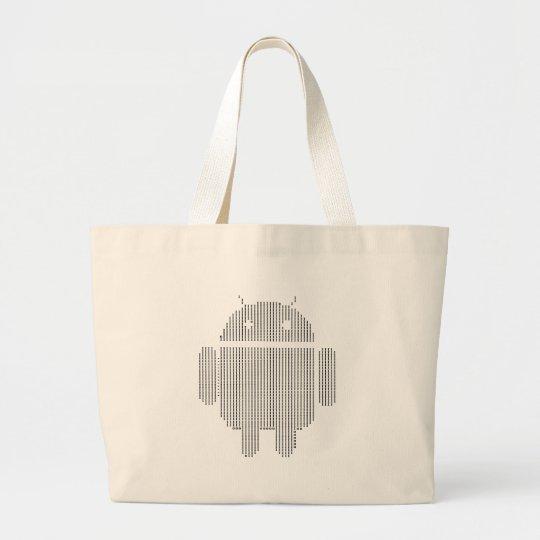 Android---Ascii black Large Tote Bag