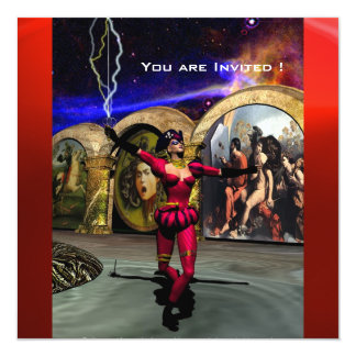 ANDROID BALLET,Red Fuchsia Blue Science Fiction Card