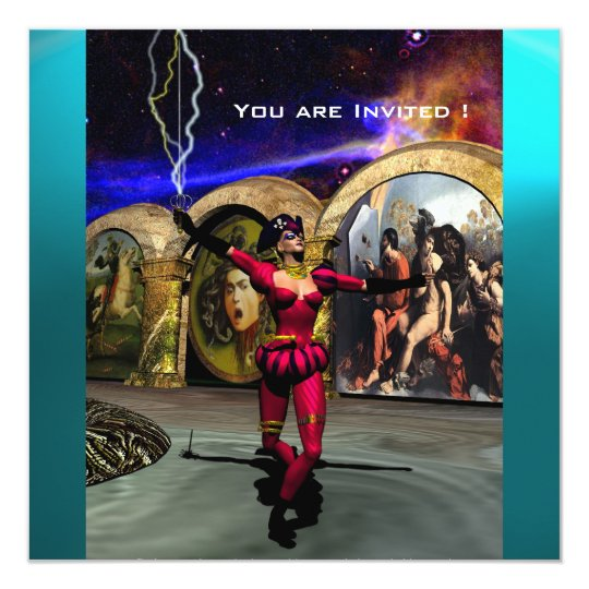 ANDROID BALLET,Red Teal Blue Science Fiction Card