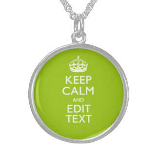 Android Green Decor Keep Calm And Your Text Round Pendant Necklace