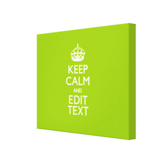 Android Green Keep Calm And Your Text Canvas Print