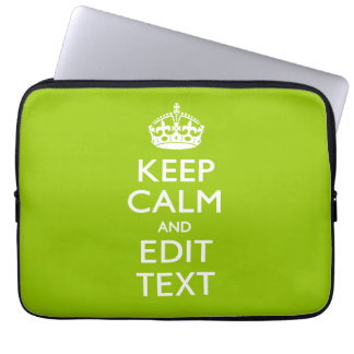 Android Green Keep Calm And Your Text Laptop Sleeve