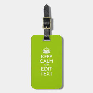 Android Green Keep Calm And Your Text Travel Bag Tags