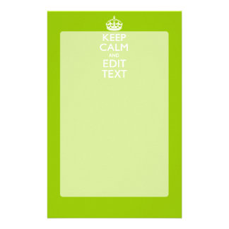 Android Green Keep Calm And Your Text Custom Stationery