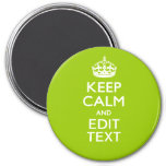 Android Green Keep Calm Have Your Text 3 Inch Round Magnet