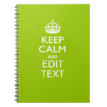 Android Green Keep Calm Have Your Text Spiral Notebook