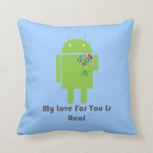 Android in Love Throw Pillow