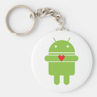 Android Love Basic Round Button Keychain