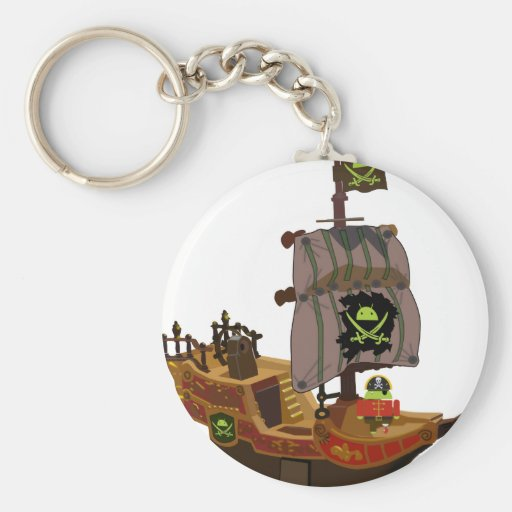 Android Pirate on a Ship Keychains