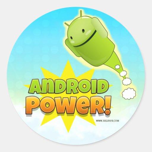 Android Power sticker round large Pegatina Redonda