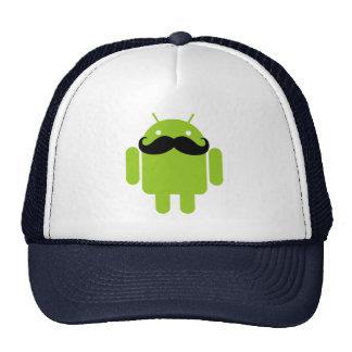 Android Robot Black Mustache Graphic Trucker Hat