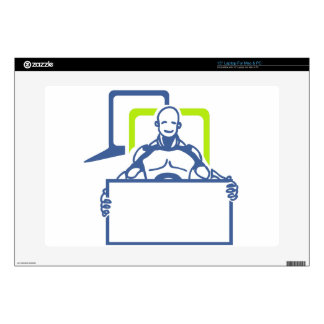 "Android Robot Holding Blank Sign Skin For 15"" Laptop"