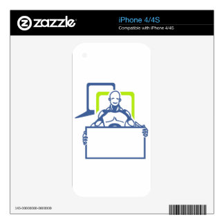 Android Robot Holding Blank Sign Skins For iPhone 4S