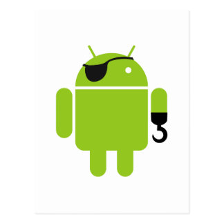 Android Robot Icon as a Pirate Postcard