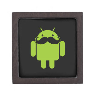 Android Robot Icon Mustache on Black Gift Box