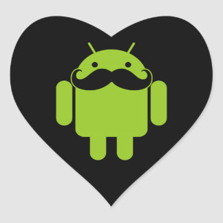 Android Robot Icon Mustache on Black Heart Sticker