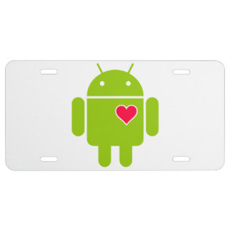 Android Robot Icon with a Heart License Plate