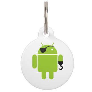 Android Robot Mighty Pirate Pet Tag
