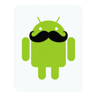 Android Robot Mustache Card