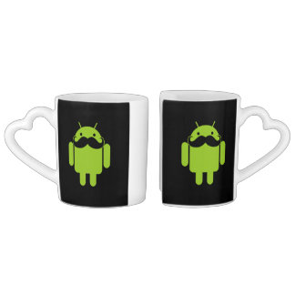 Android Robot Mustache Style on Black Couples Coffee Mug