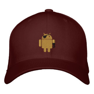 Android Robot Pirate Embroidery Embroidered Baseball Cap