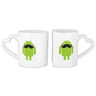 Android Robot Whimsical Mustache Style Coffee Mug Set