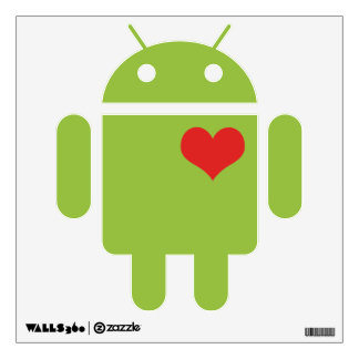 Android Robot With Heart Room Stickers