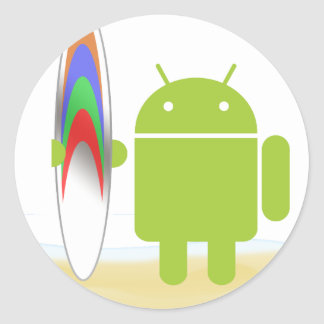 Android Surfer Classic Round Sticker