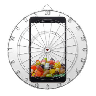Android tablet with jelly bean dart board