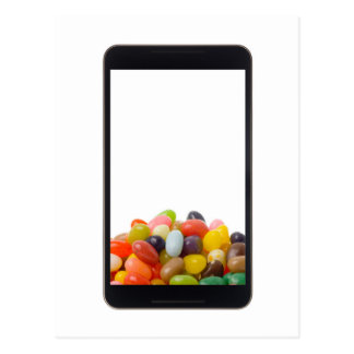Android tablet with jelly bean postcard