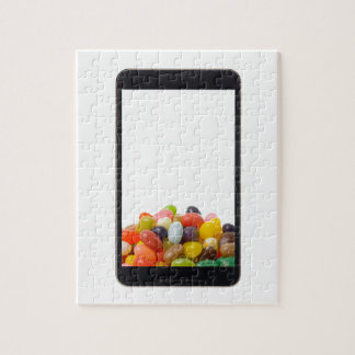 Android tablet with jelly bean jigsaw puzzle