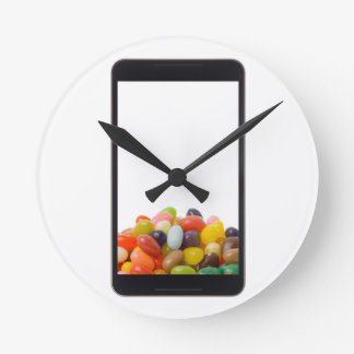 Android tablet with jelly bean round clock