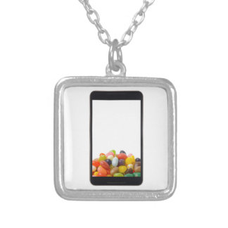 Android tablet with jelly bean square pendant necklace